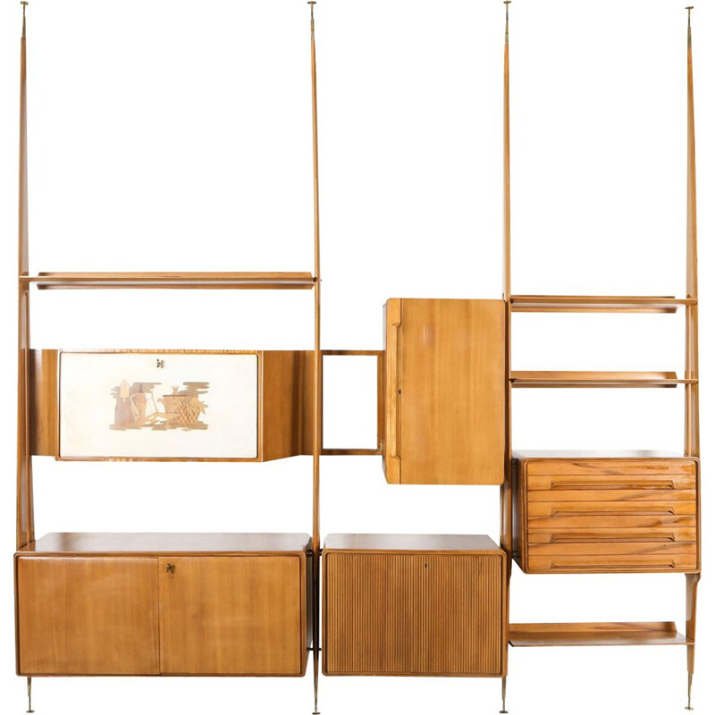 Vintage Wall Unit in Beech to Gio Ponti Italy 1950s