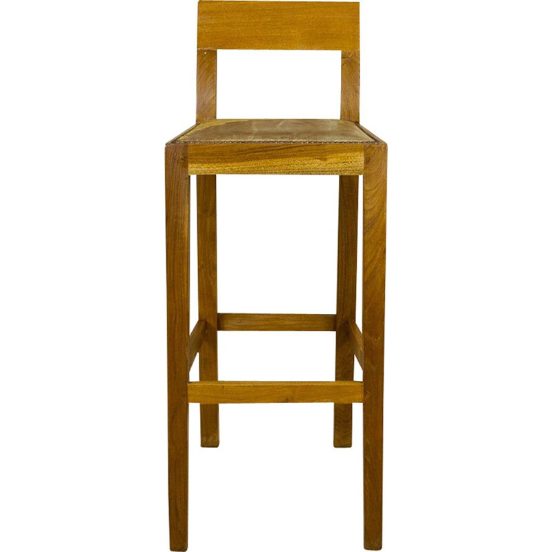 Vintage Tall Oak And Leather Stool 1990s
