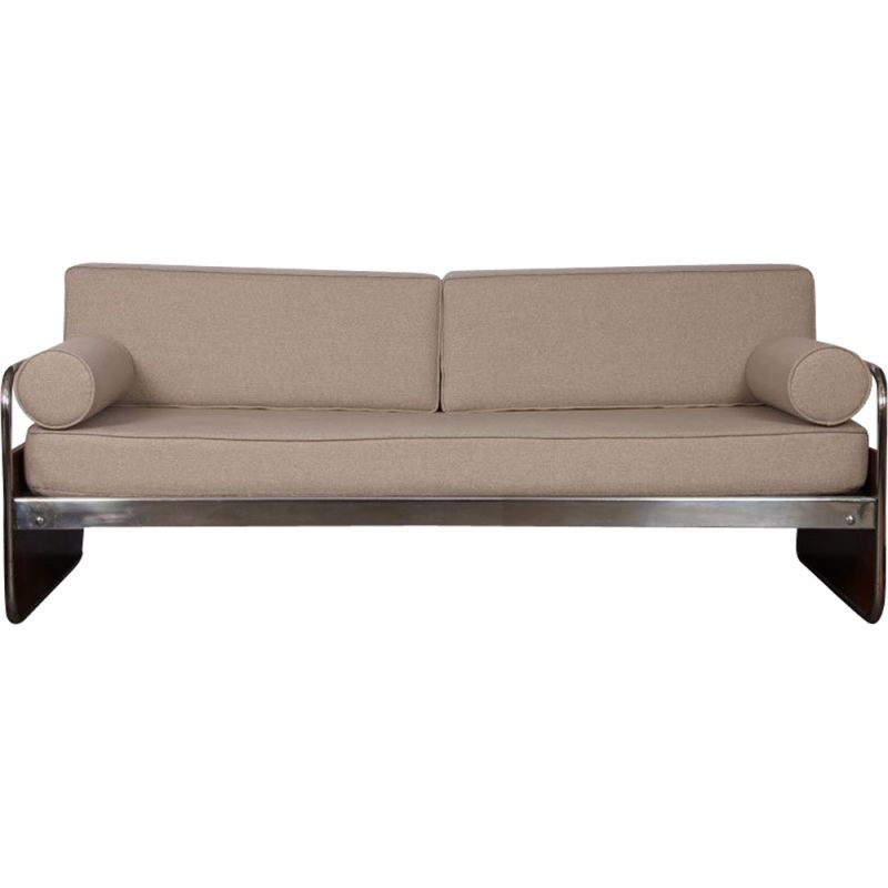 Vintage wooden and chromed metal sofa Czech 1940s
