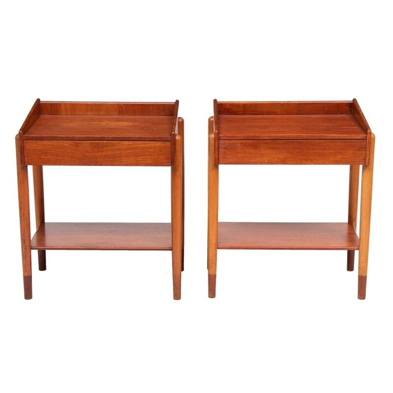 Pair of vintage Teak Side Tables by Borge Mogensen for Soborg Mobelfabrik Denmark 1960s