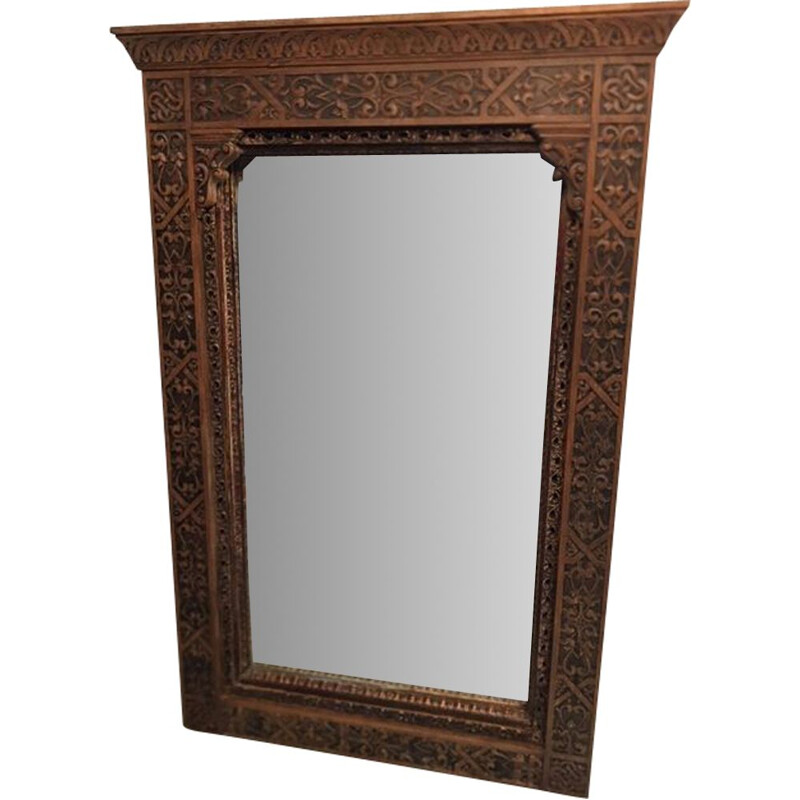 Large vintage mirror with carved wood frame 1950s