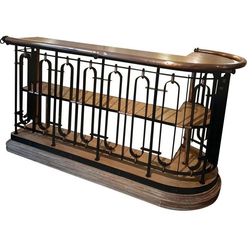 Grand Bar, hammered ironwork and oak France 1950