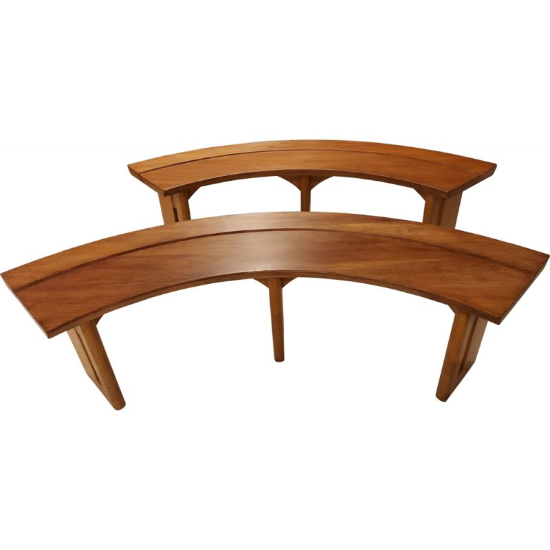 Pair of vintage curved elm benches by Pierre Chapo 1970s