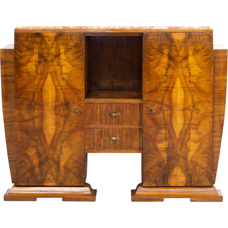 Vintage cabinet in Burl Walnutt with marble table top Art deco