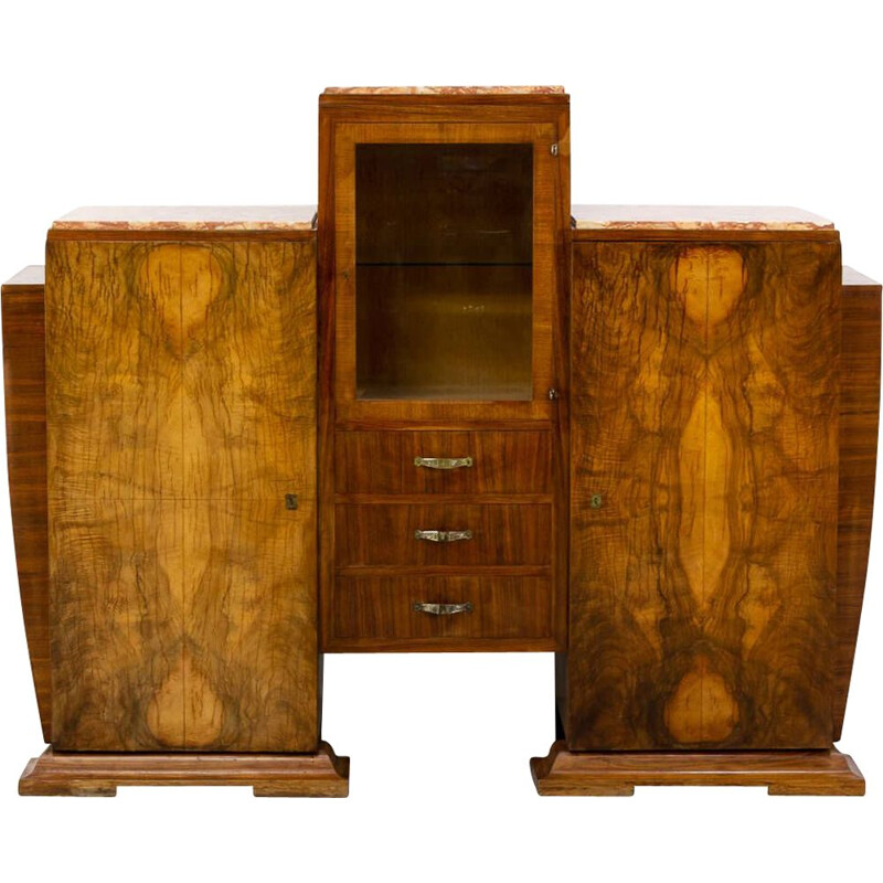 Vintage cabinet in Burl Walnutt with glass vitrine and 3 marble tops Art deco