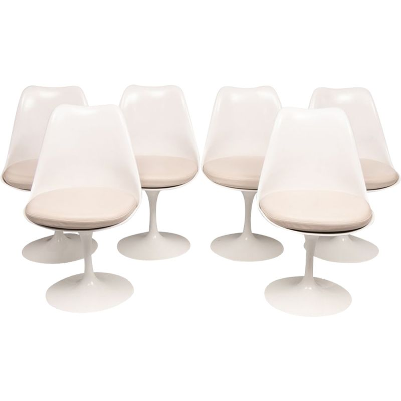 Set of 6 vintage Tulip Chairs with Leather Seat Pads by Eero Saarinen for Knoll