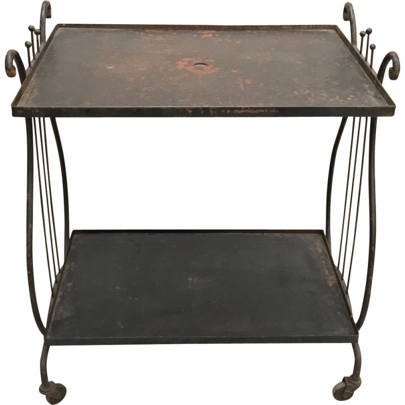 Vintage Iron bar cart table with a harp