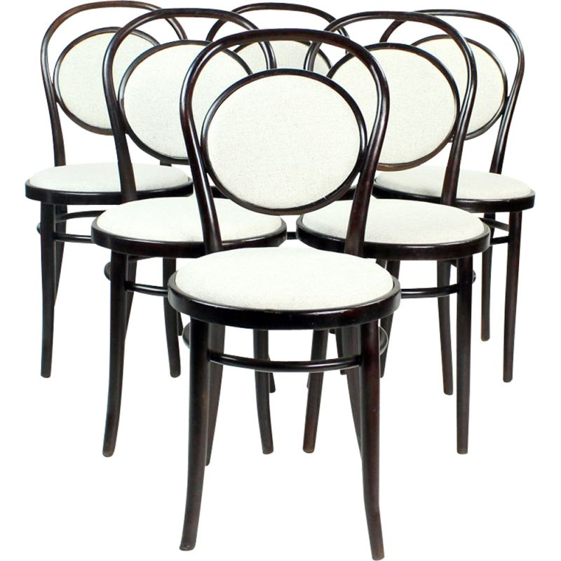 Set of 6 vintage Romanian Bentwood Chairs Thonet 1940s