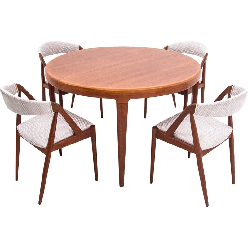 Vintage Teak dining set with K. Kristiansen chairs 1960s