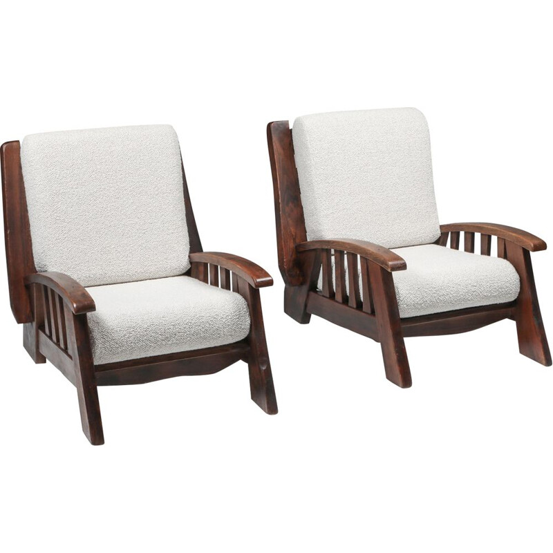 Pair of vintage rustic club armchairs with Pierre Frey 1960s