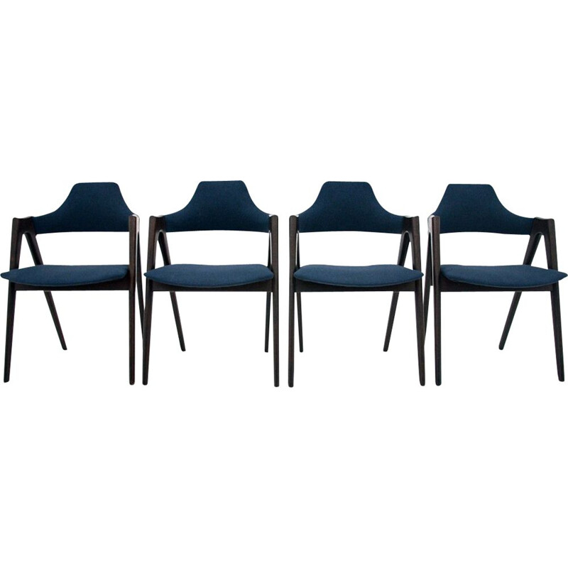 Set of 4 vintage Compass dining room chairs by Kai Kristiansen Denmark 1960s