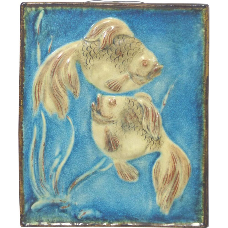 Vintage ceramic fish wall plaque 1950s