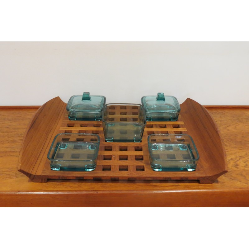 dansk design tray in teak with glass inserts jens quistgaard