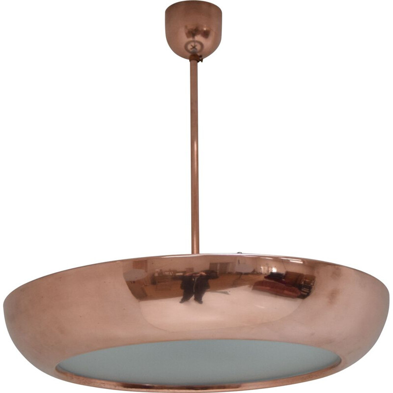 Vintage Functionalist Brass Pendant UFO By Josef Hurka for Napako,1930s