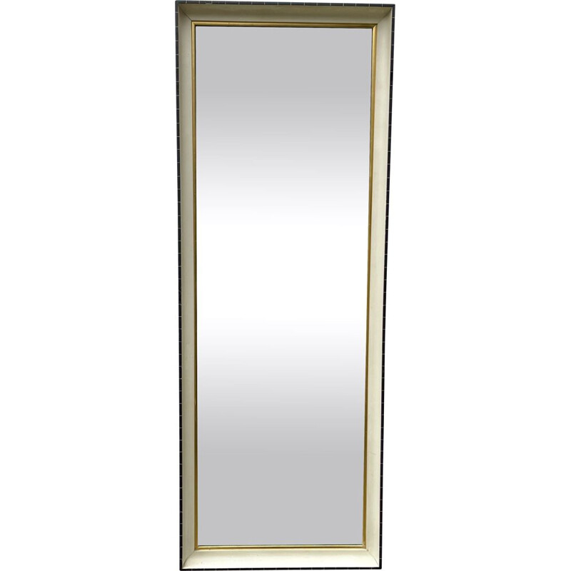 Vintage Rectangular Mirror Black and White Frame