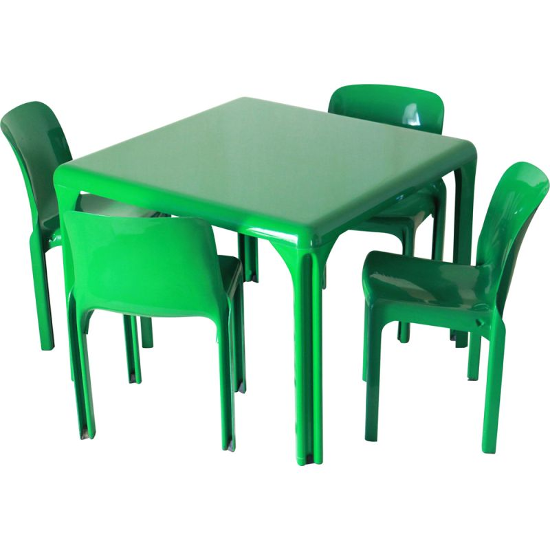 Vintage Stadio 100 Dining Table And Four Selene Chairs By Vico Magistretti For Artemide