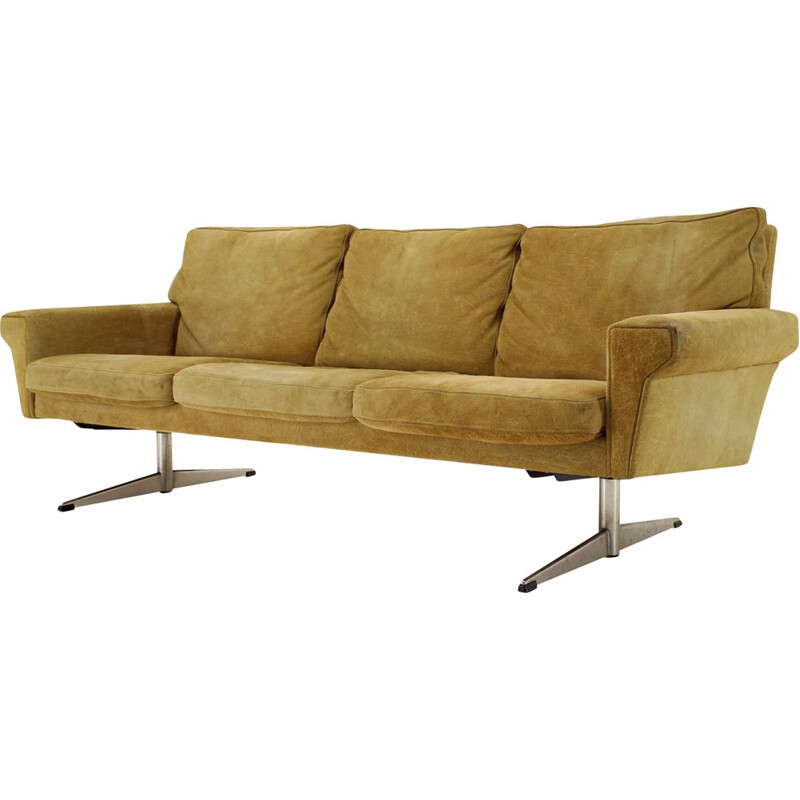 Vintage Georg Thams 3-Seater Sofa in Suede Leather, Denmark 1970s