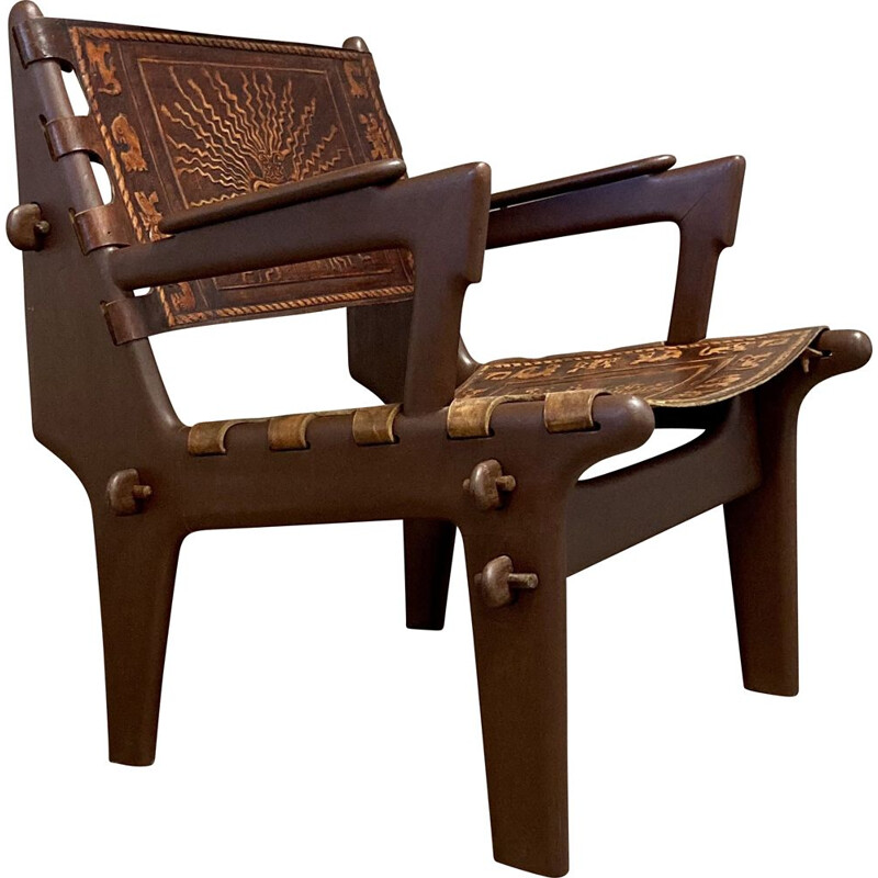 Vintage leather and wood armchair A.Pazmino equatorial 1960