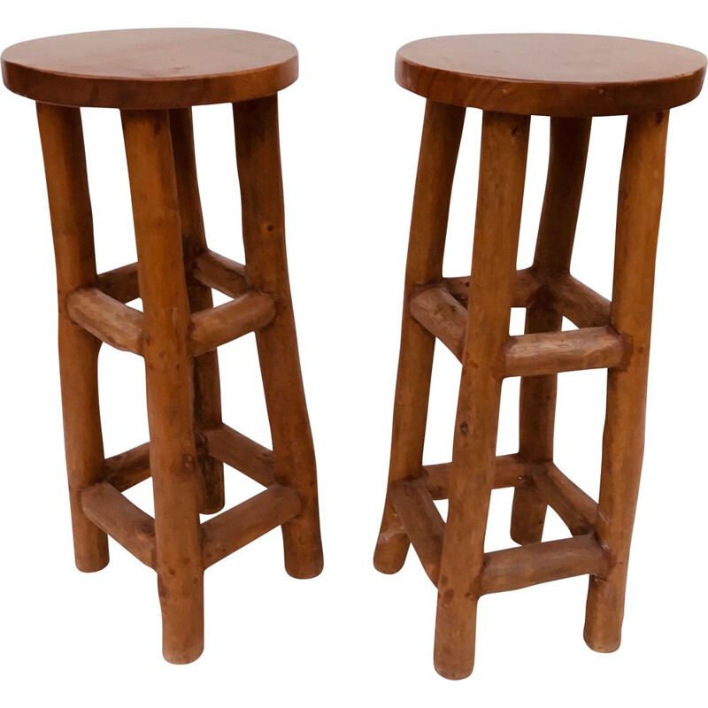 Pair of brutal vintage solid wood bar stools