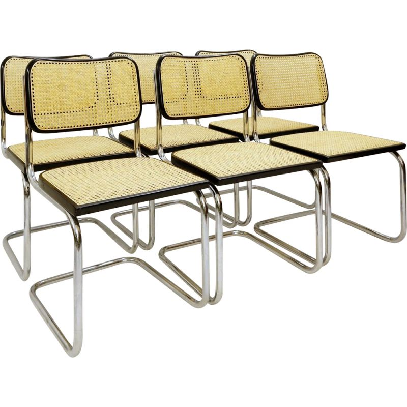 Set Of 6 vintage Cane And Chrome Chairs Italy 1970s