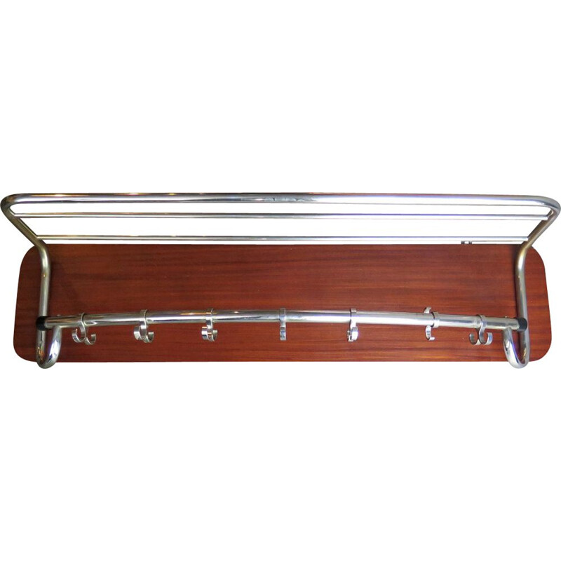 Vintage wooden chrome-plated coat hanger 1950