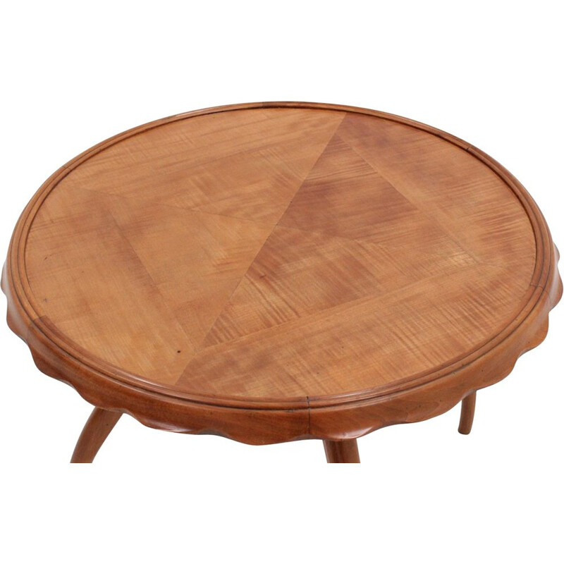Vintage round walnut coffee table by Osvaldo Borsani 1940