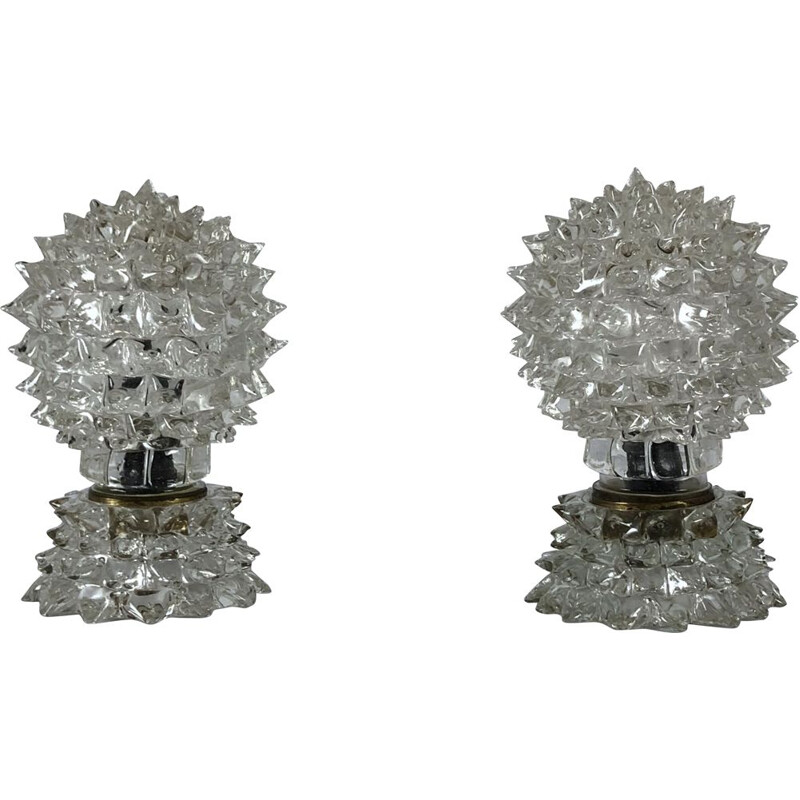 Pair of vintage table lamps Ercole Barovier, Italy 1940