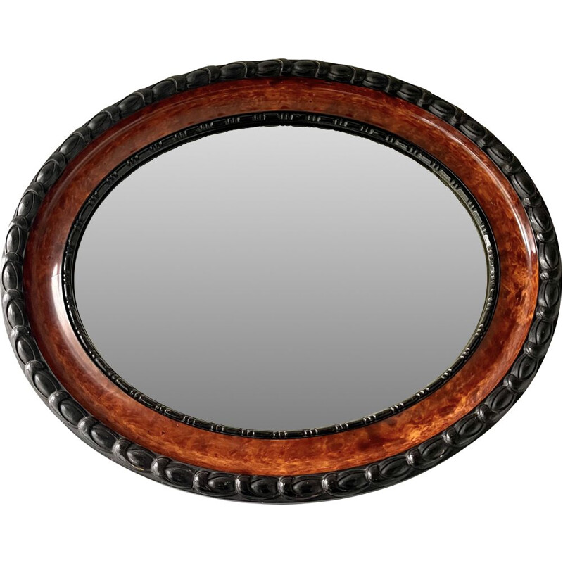 Vintage oval wall mirror with bevelled edge