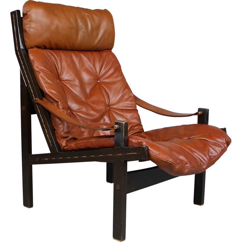 Vintage brown leather lounge chair by Torbjørn Afdal for Bruksbo 1960