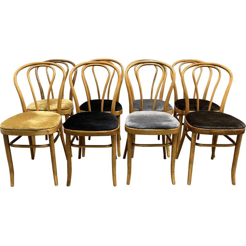 Set of 8 vintage chairs Thonet bistro 1950s