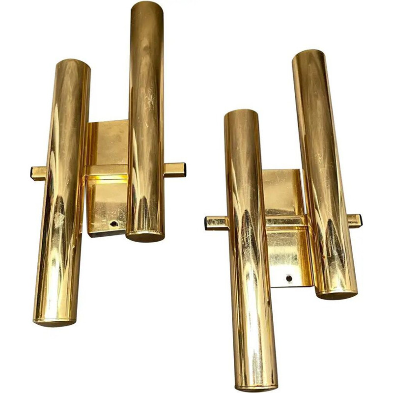 Pair of Mid-Century Brass Wall Sconces 1960s