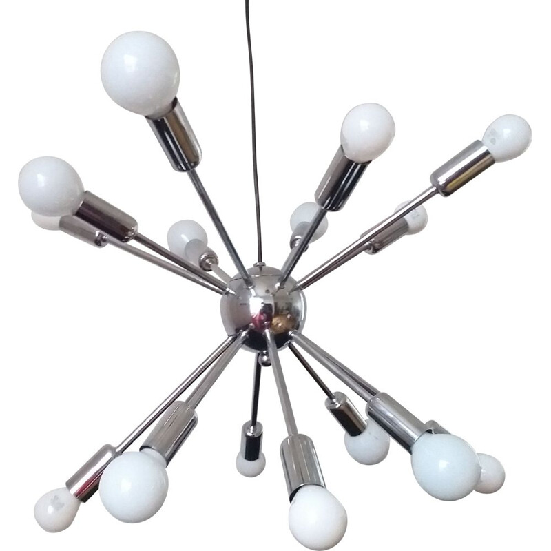 Mid Century Large Chandelier Sputnik Atomic Italy 1970s