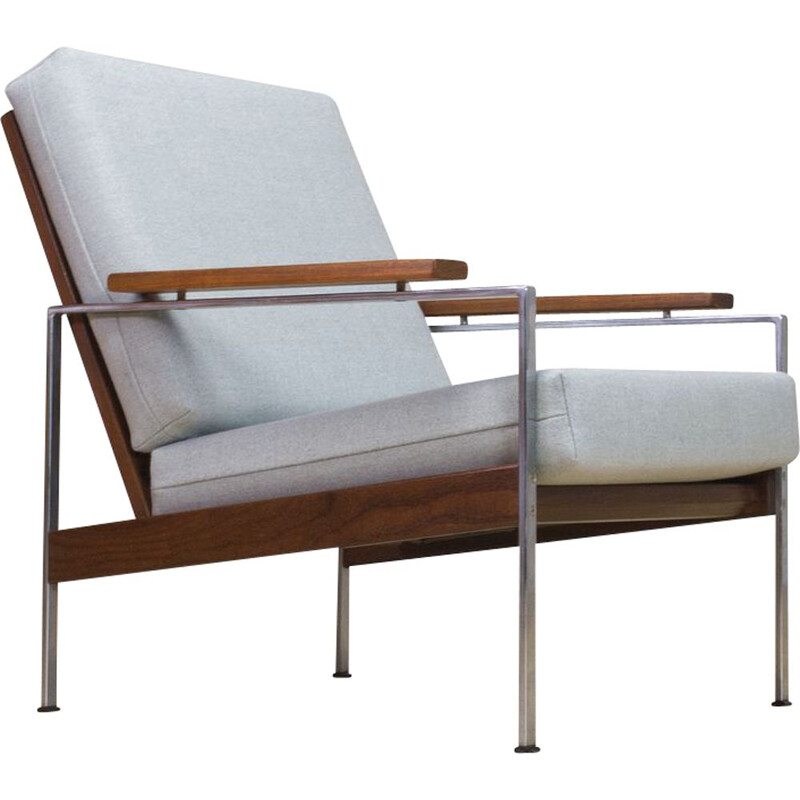 Mid-Century Parry Lounge Chair Lotus in Teak and Grey New Fabric 1960s