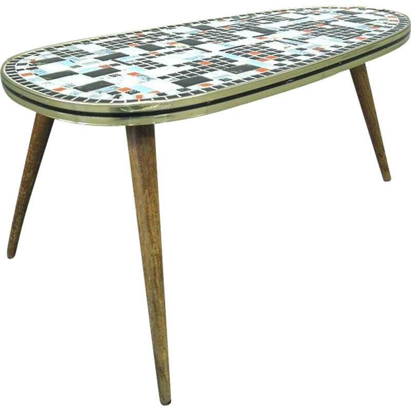 Vintage Tripod Side Table with Ceramic Mosaic Top 1950s
