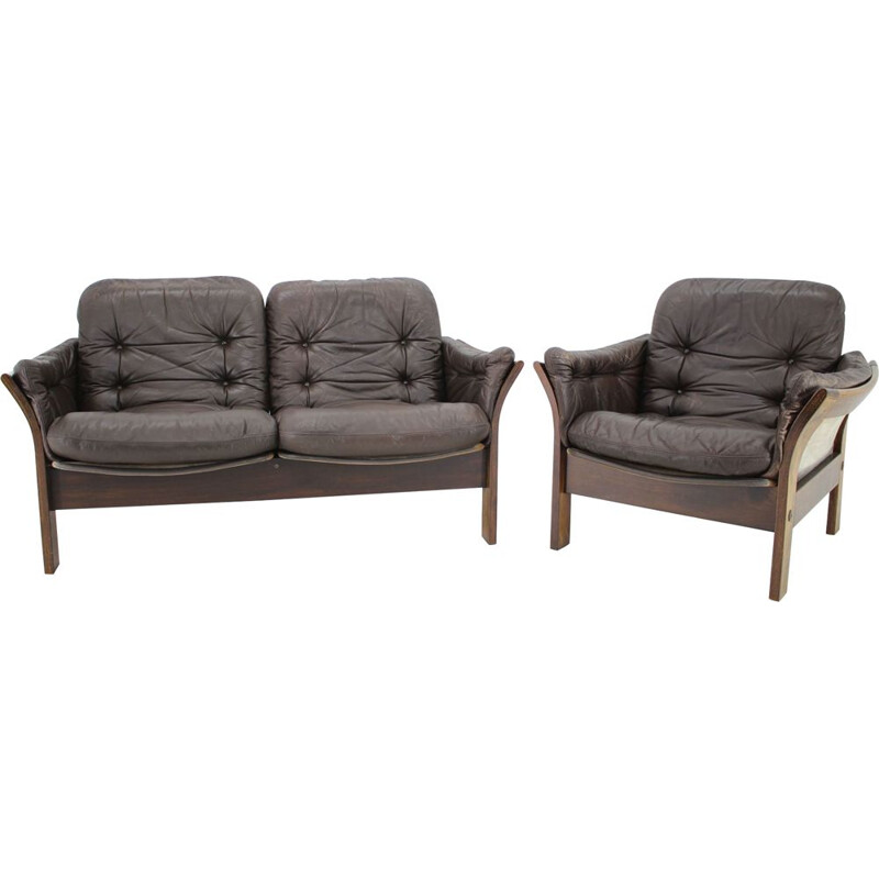 Vintage Georg Thams 2-Seater Sofa and Armchair in Dark Brown Leather Denmark 1970s