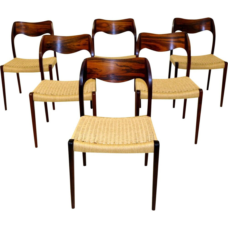 Set of 6 vintage chairs in the style of Niels o Moller 1960s