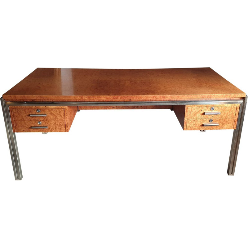 Vintage wooden desk with magnifying glass 1970