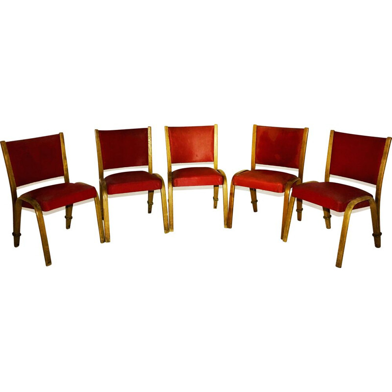 Set of 5 vintage Bow Wood red leatherette chairs, Steiner