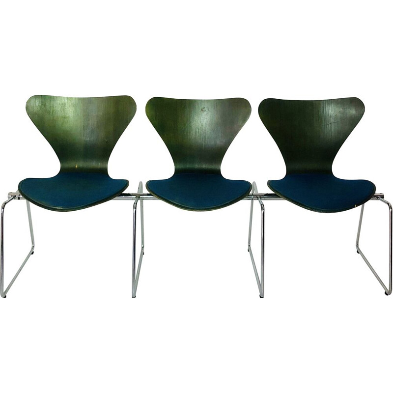 Vintage 3-seater Fourmi bench, Arne Jacobsen