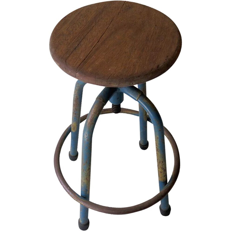 Vintage industrial swivel stool 1950
