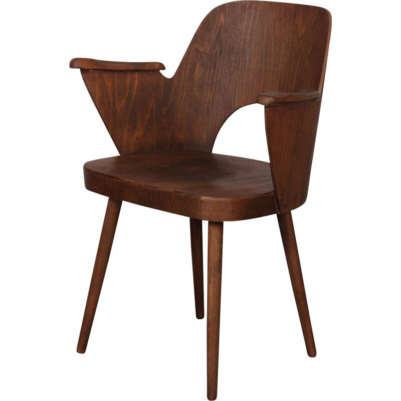 Vintage wooden armchair by Lubomir Hofmann for Ton 1960s