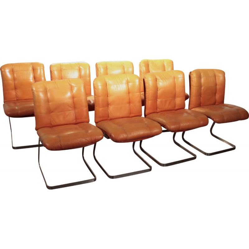 Set Of Eight Roche Bobois Chairs In Brown Camel Leather