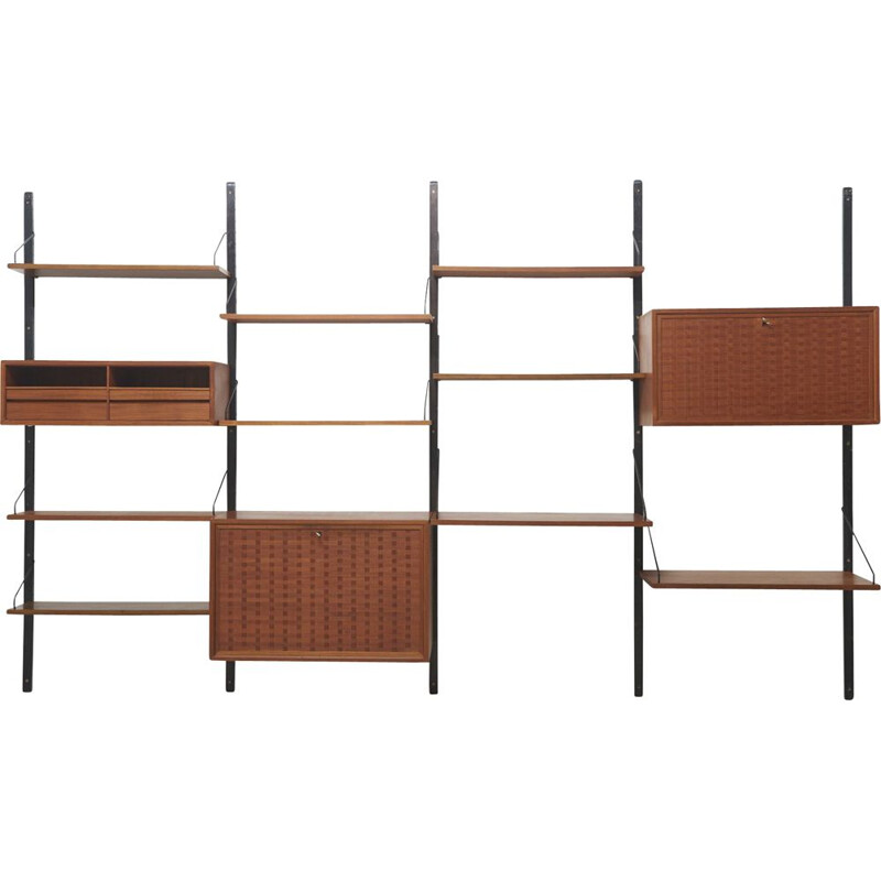 Vintage Wall Shelving Unit in Teak by Poul Cadovius Denmark 1950s