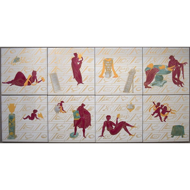 Vintage Ceramic Tiles with La Conversazione Classica by Gio Ponti 1925s