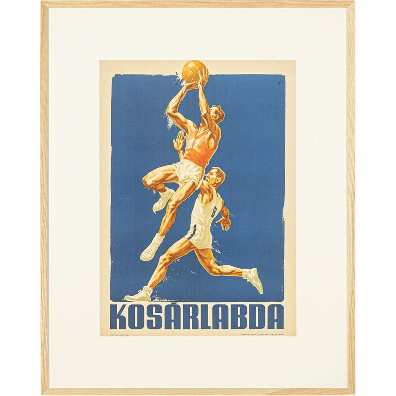 Vintage sports poster European basketball championship 1955s