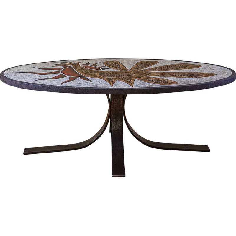 Vintage enamelled lava coffee table by Jean Jaffeux 1960s