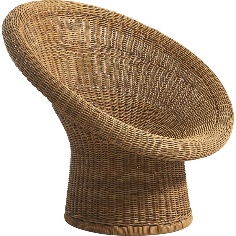 Vintage Wicker Basket Chair by Egon Eiermann for Heinrich Murrmann Germany 1949s