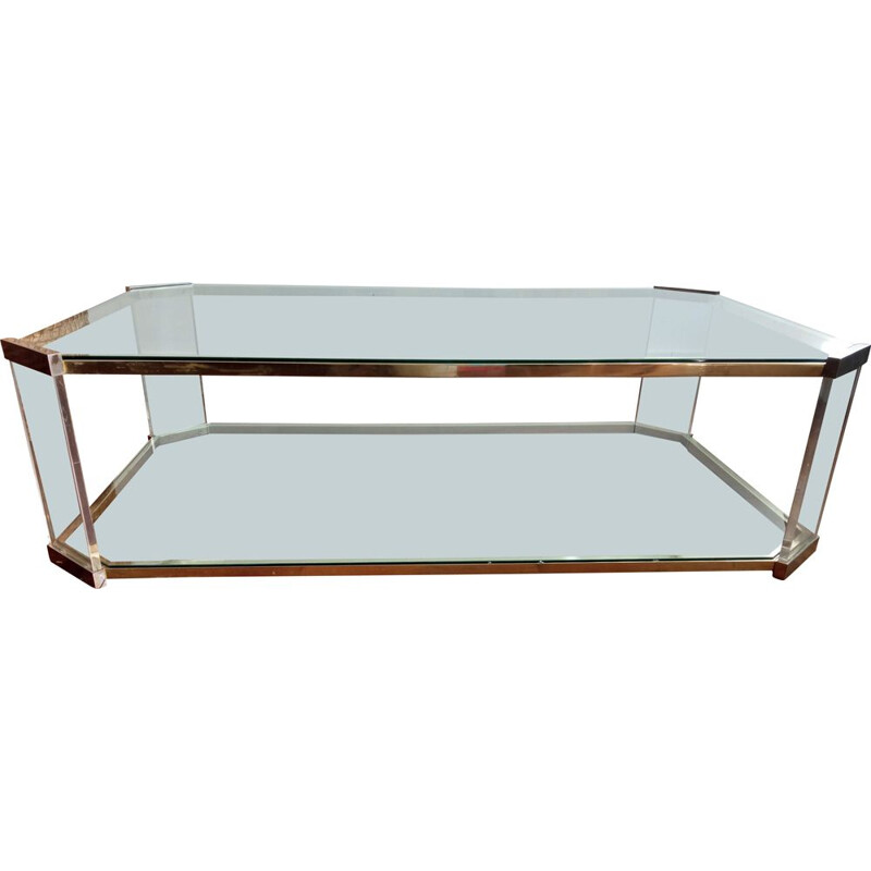 Vintage brass and plexiglass coffee table Roche Bobois 1970s