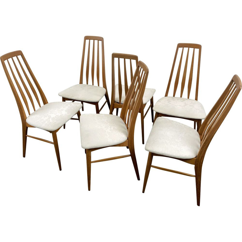 Set of 6 vintage teak Eva chairs by Niels Koefoed for Koefoeds Hornslet, Denmark 1960
