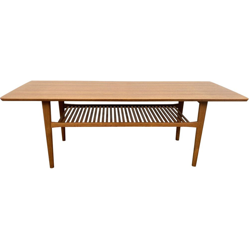 Vintage teak coffee table with a slatted base, Denmark 1960